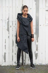 Asymmetric Black Vest