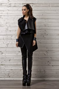 Black Vest with Leather Collar