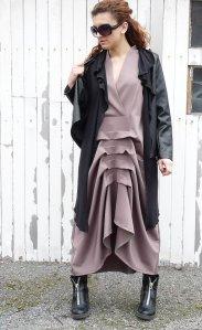 V-Shaped Beige Dress